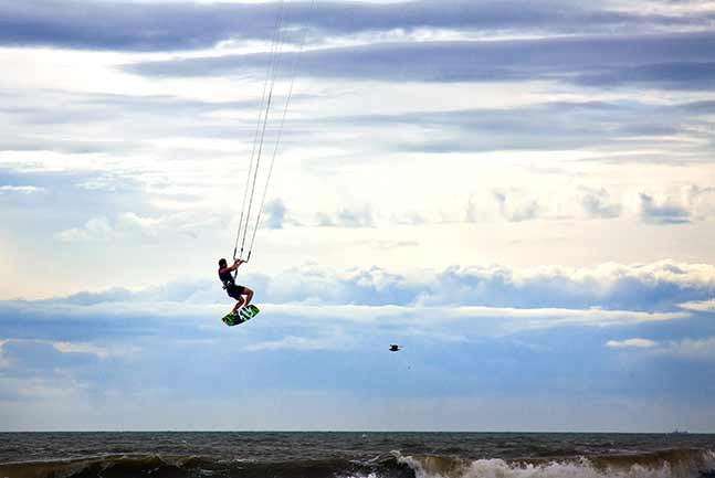 Kitesurfer jumping in the air