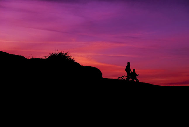 Bicycles in Desert at sunset