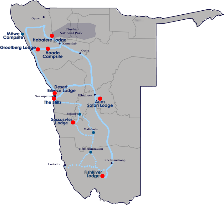 Journeys Namibia Map of Lodges